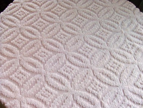 Pink and White Wedding Ring Chenille Bedspread by LinensandThings, $60.00