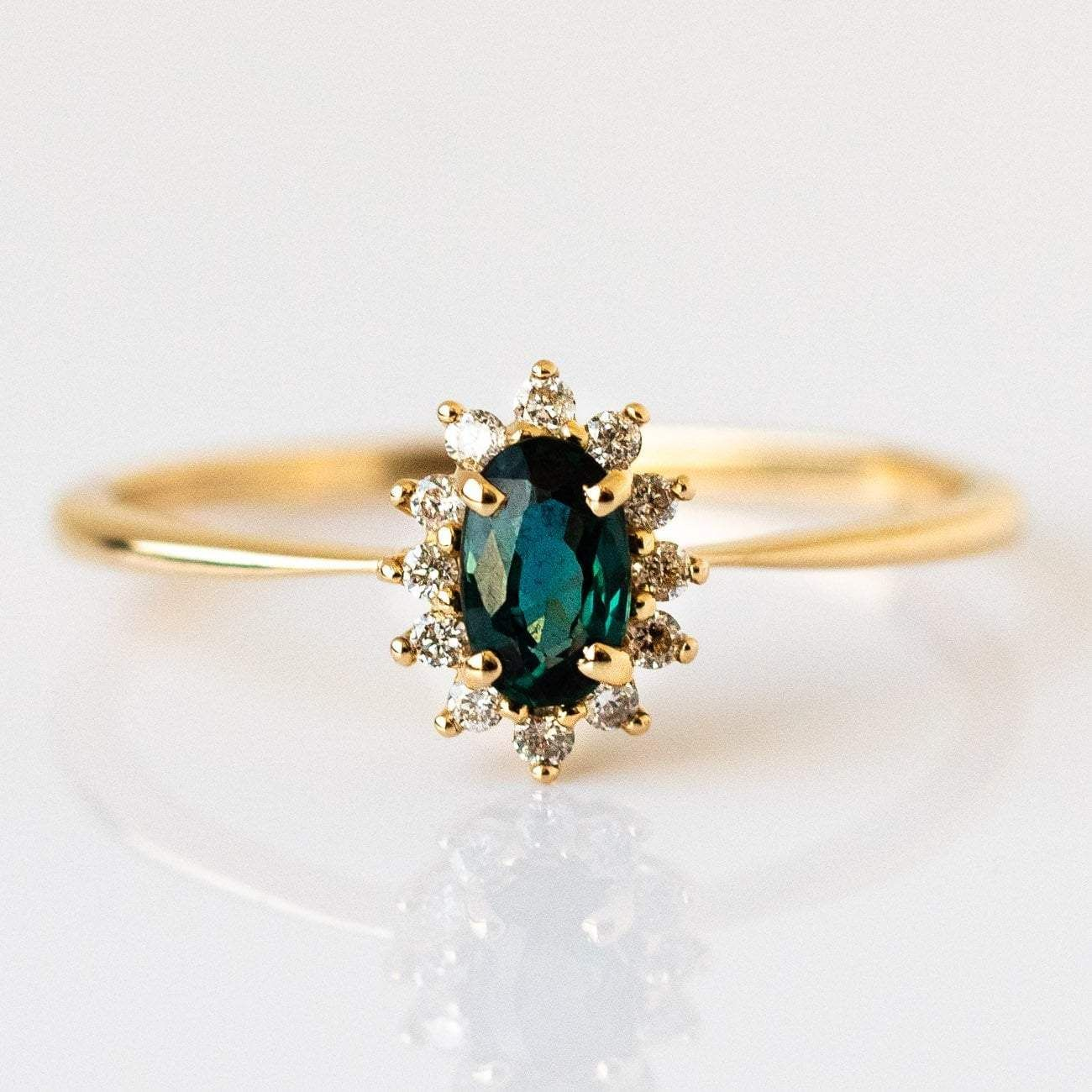 340 Teal sapphire 5 x 3mm Diamond 1.4mm 14k solid yellow