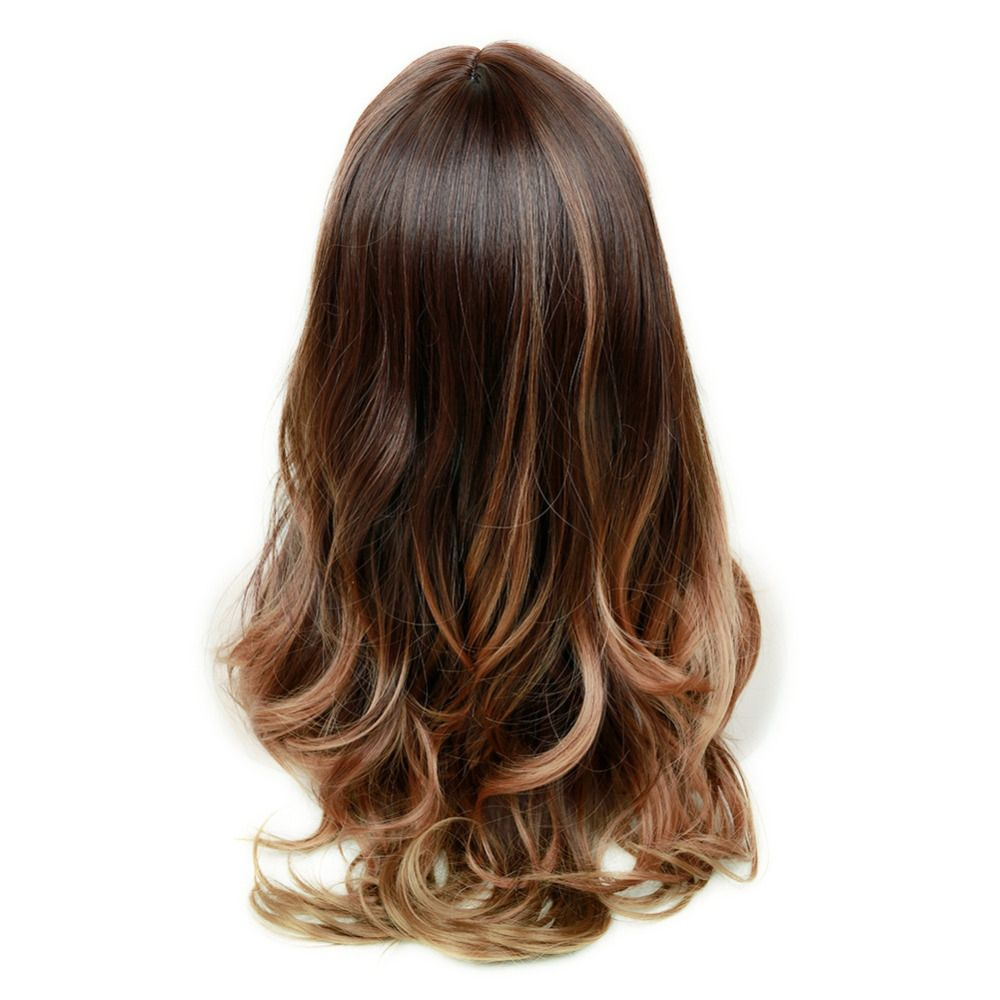 Daily wear women brown ombre balayage long layered wig 26