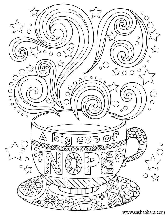 A big cup of nope coffee tea cup coloring page Adult