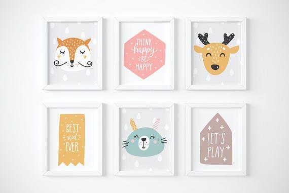 Scandi Nursery Printable Art Print Set Fox Deer Rabbit Scandinavian Style  Animal Wall Decor Kids Room