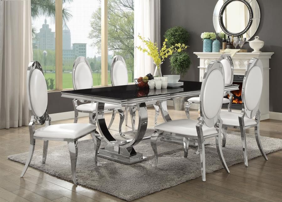 7 pc Antoine collection chrome metal base dining table set with