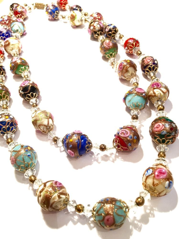 Vintage Antique Wedding Cake Necklaces 2 Venetian Murano Art Glass Beads Italy Bracelets Handmade Beaded Glass Beads Jewelry Jewelry Making Beads