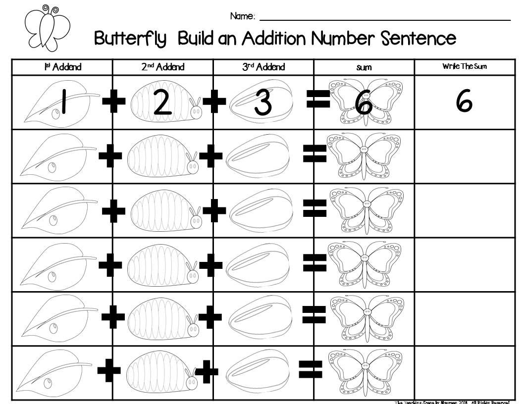 Butterfly Build 3 Addend Addition & Subtraction Number