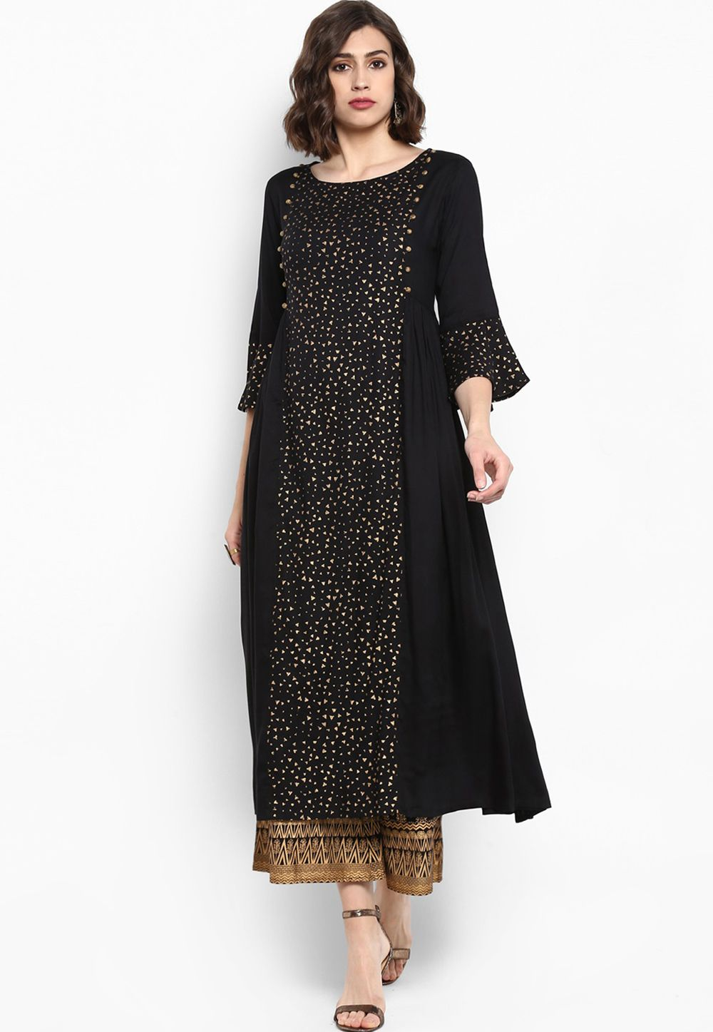 ad3e6f6f38 Shop Black Cotton Readymade Long Tunic 156880 online at best price from  vast collection of designer kurti at Indianclothstore.com.
