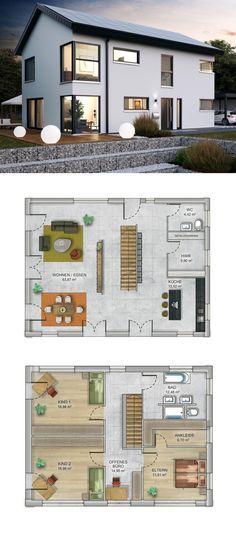 Einfamilienhaus modern mit Satteldach - Fertighaus massiv bauen