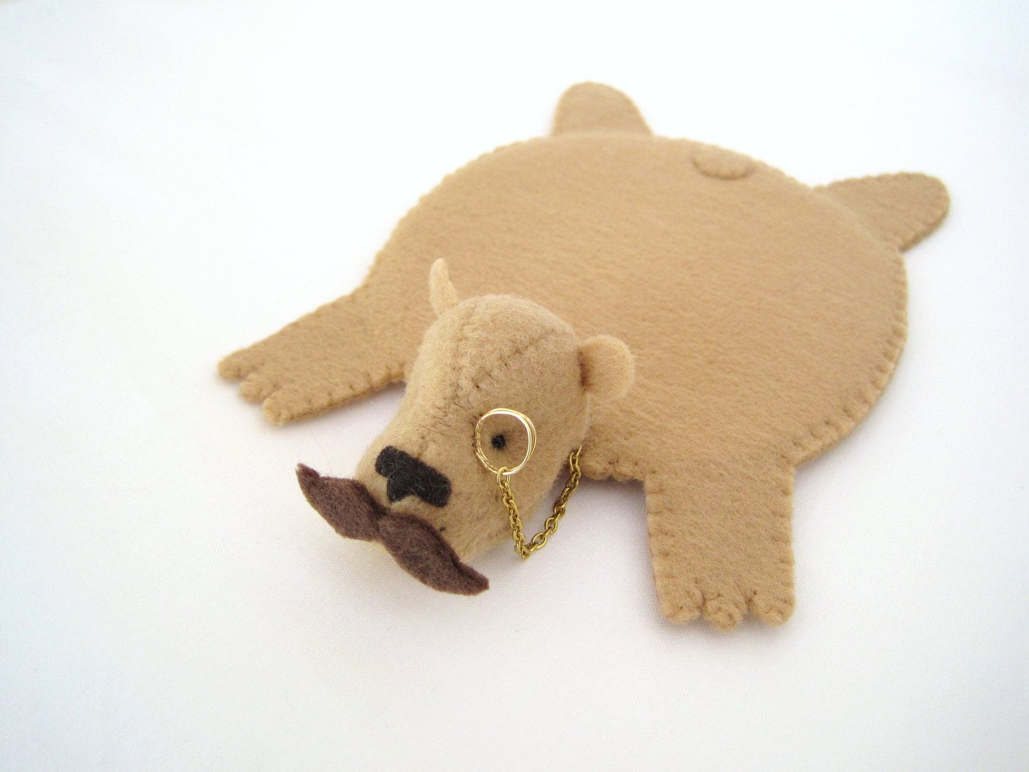 Monocled Mustache Bear Rug Coaster by dandyrions on Etsy, via Etsy.