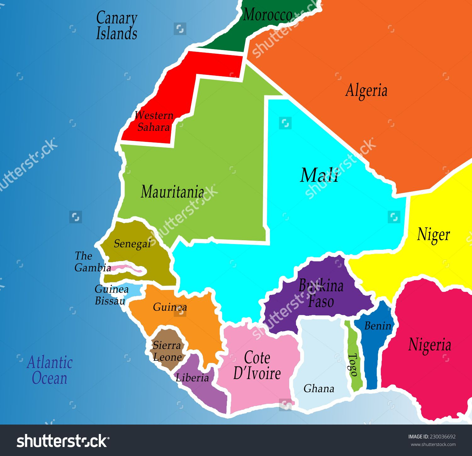 A political map of West Africa. Colorful, bright, simple