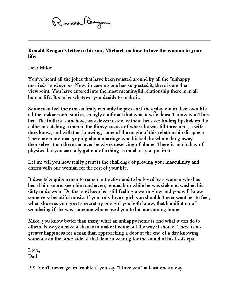 Ronald ReaganS Letter To His Son Michael On How To Love The