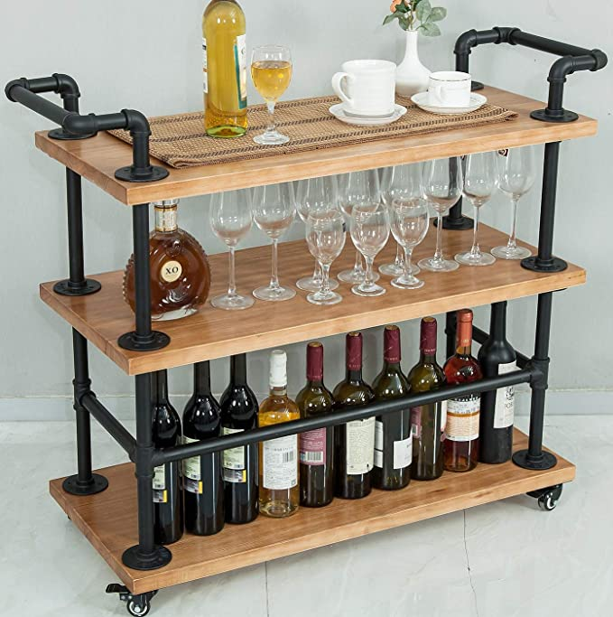 Amazon Com Industrial Bar Carts Serving Carts Kitchen Carts Wine Rack Carts On Wheels With Storage Industria Industrial Bar Cart Wood Bar Cart Liquor Shelf Kitchen cart with wine rack