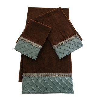 Decorative Bath Towel Sets Shop For Sherry Kline Pleated Diamond Brown Blue Embellished 3