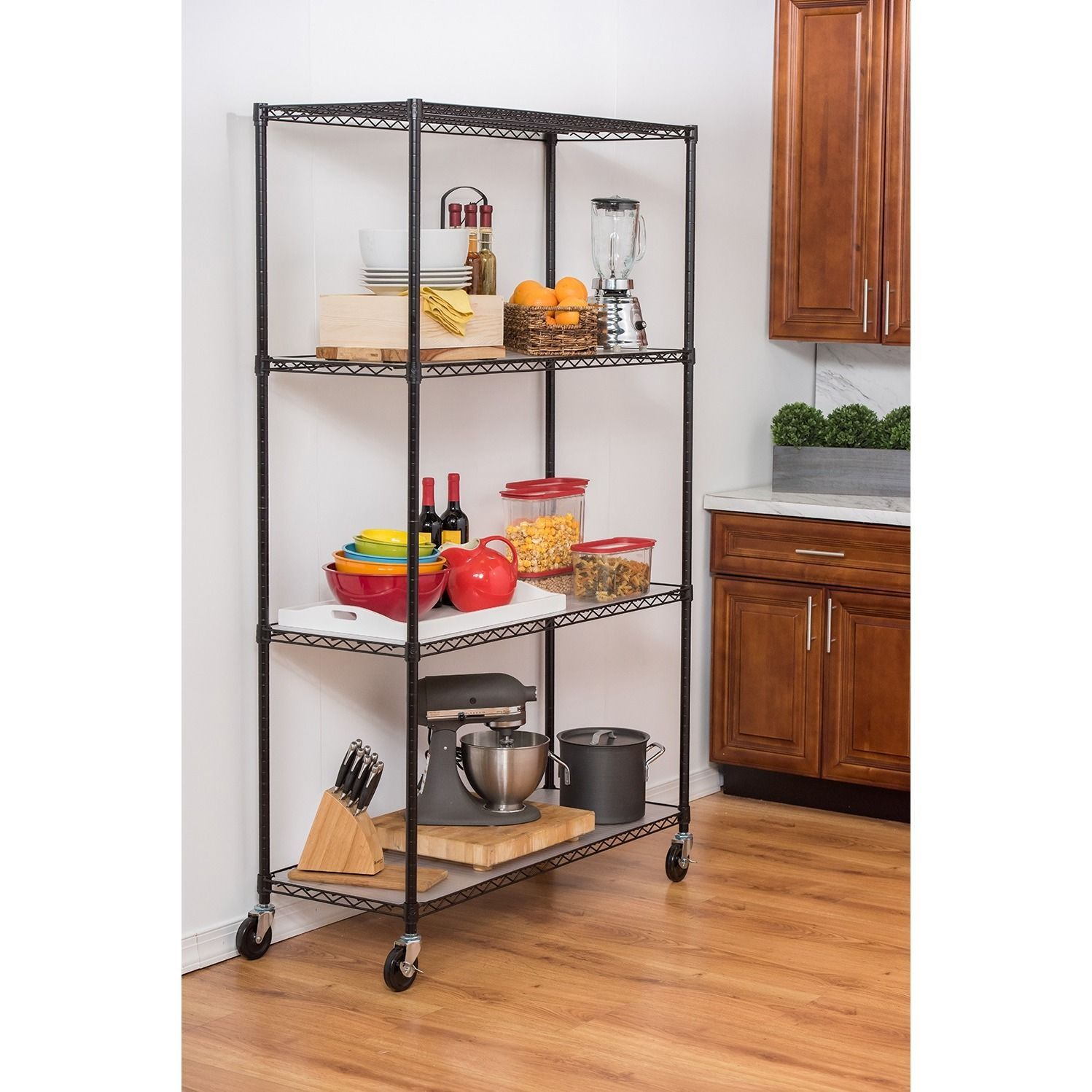 Trinity 4Tier Black Wire Shelving with Wheels and Liners