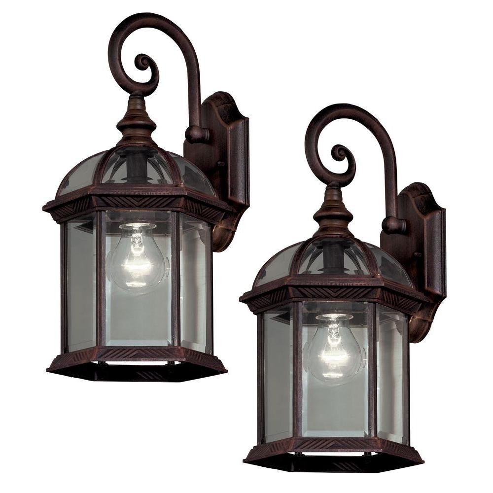 Hampton Bay Twin Pack 1 Light Weathered Bronze Outdoor Wall