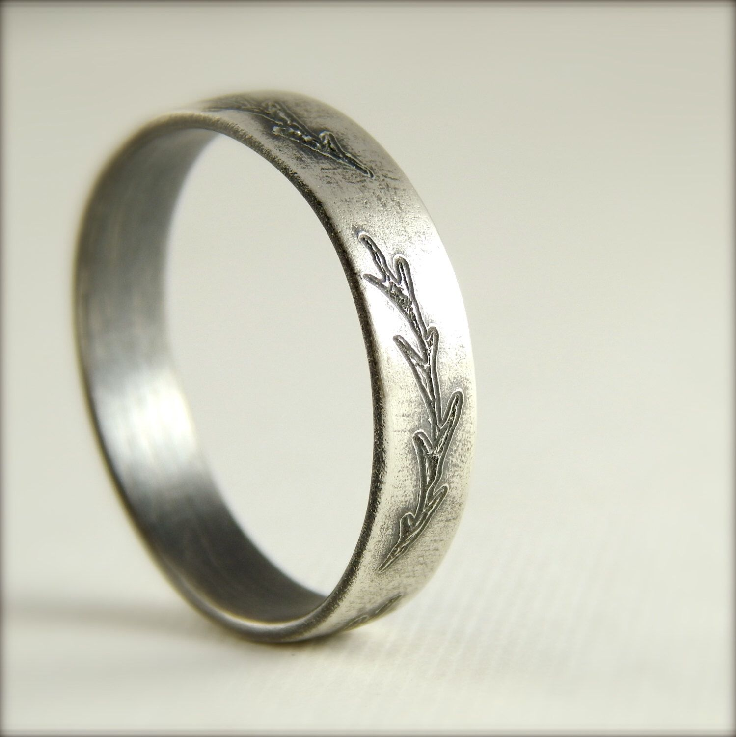 reserved for adensmore2 wedding band engraved leaves fern branch 4 mm x 125 mm sterling silver simple wedding band