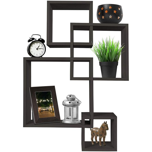 Greenco Decorative 4 Cube Intersecting Wall Mounted Floating Shelves Espresso Finish Walmart Com In 2020 Square Floating Shelves Floating Shelves Wood Wall Shelf