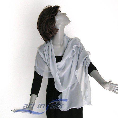"Silver Gray Silk Chiffon Wrap Shawl Scarf, Petite Stole 22"" x 64""."