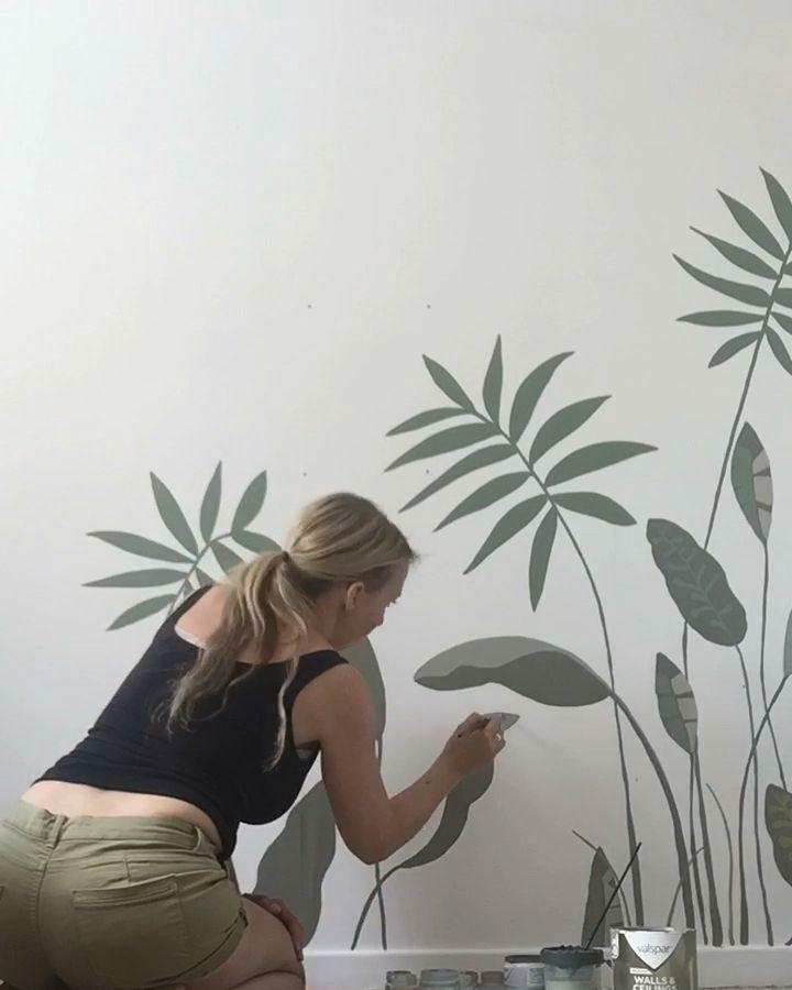 Botanical wall mural for little girls bedroom