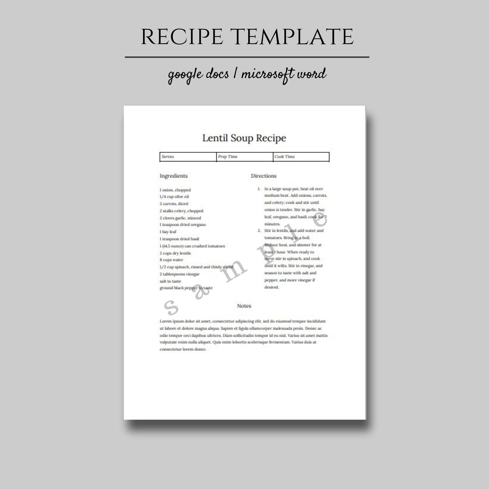 Editable Recipe Template Printable Recipe Binder Printable Etsy Recipe Template Printable Cookbook Template Template Printable