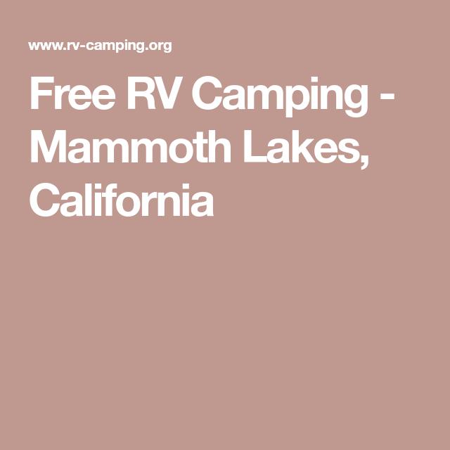 Free RV Camping - Mammoth Lakes, California