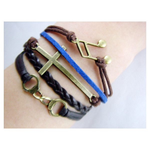 Cross bracelet Cuff Bracelet Musical Note Bracelet by 2style ($8.99) via Polyvore