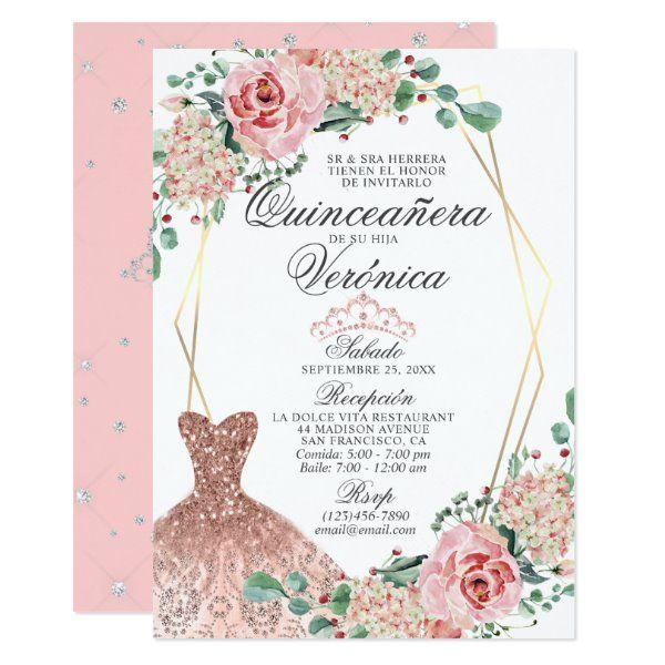 Invitación Elegante color de agua rosado quinceañe