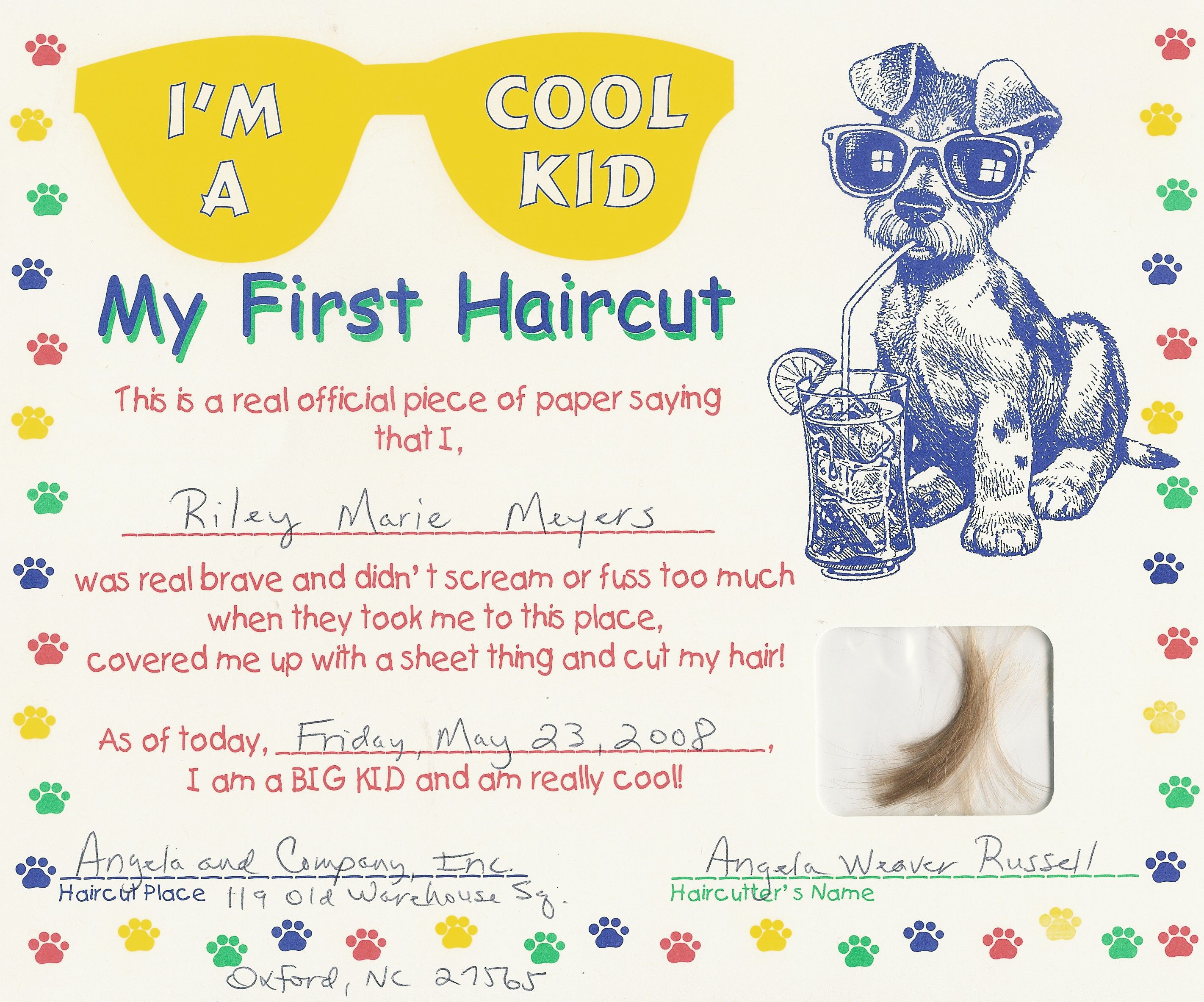 first haircut certificate free my cakepinscom