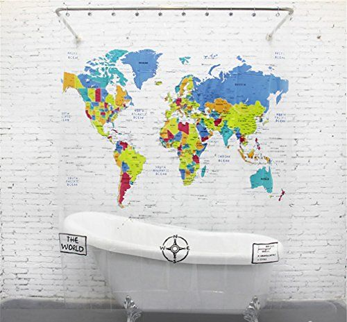 Lee Hans MildewFree EVA Shower Curtain World Map 72inch By 78inch Click Image To Review More Details