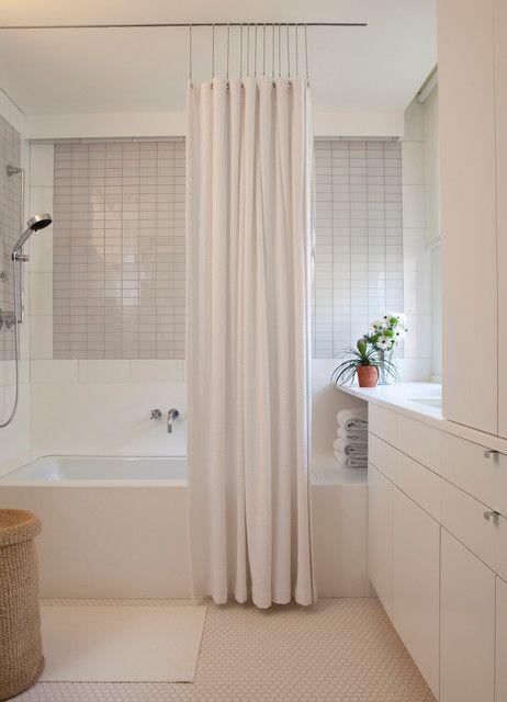 Charming White Shower Curtains At Modern Bathroom Interior Applied