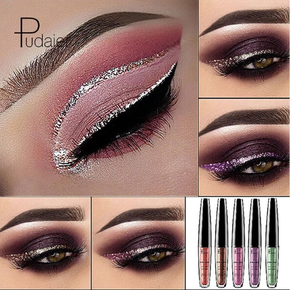 Pudaier Brand Eyeliner 16 Colors Glitter Eyeliner Liquid Waterproof White Dark circles Eyeliner Pen Metallic Shinning Makeup #glittereyeliner