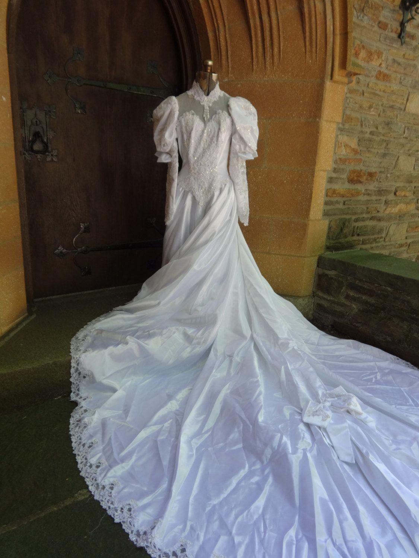 Vintage wedding dress white 1980's southern belle Etsy
