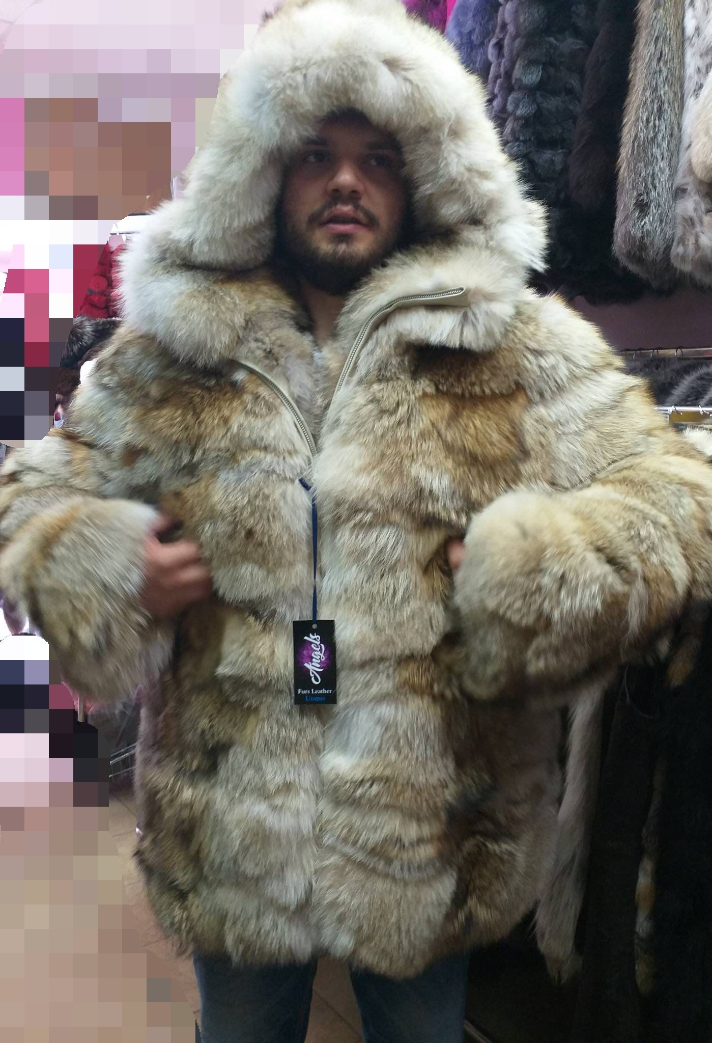 MEN'S NEW!!! Real Natural Hooded COYOTE Fur Coat! | mens