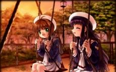 Mädchen, card captor sakura, Schaukel, süß, lächelnd