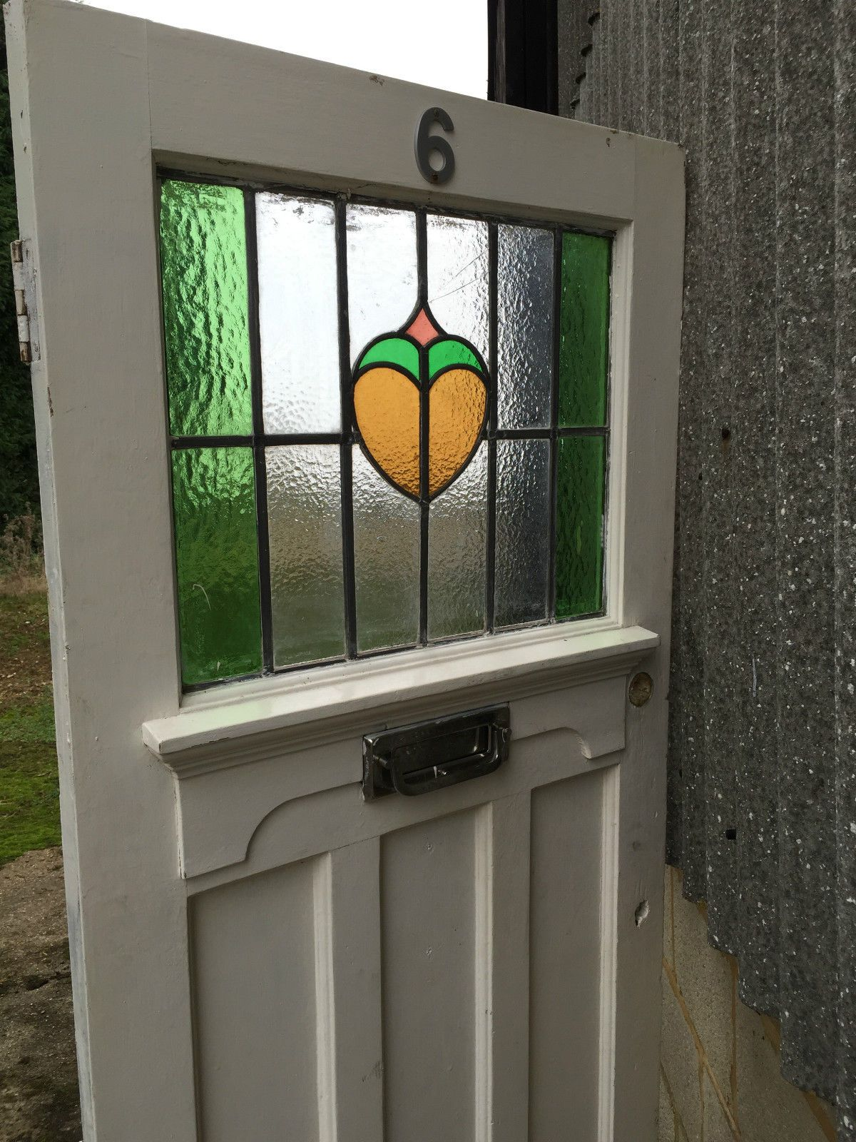 1930s wooden front door external stained glass period old antique