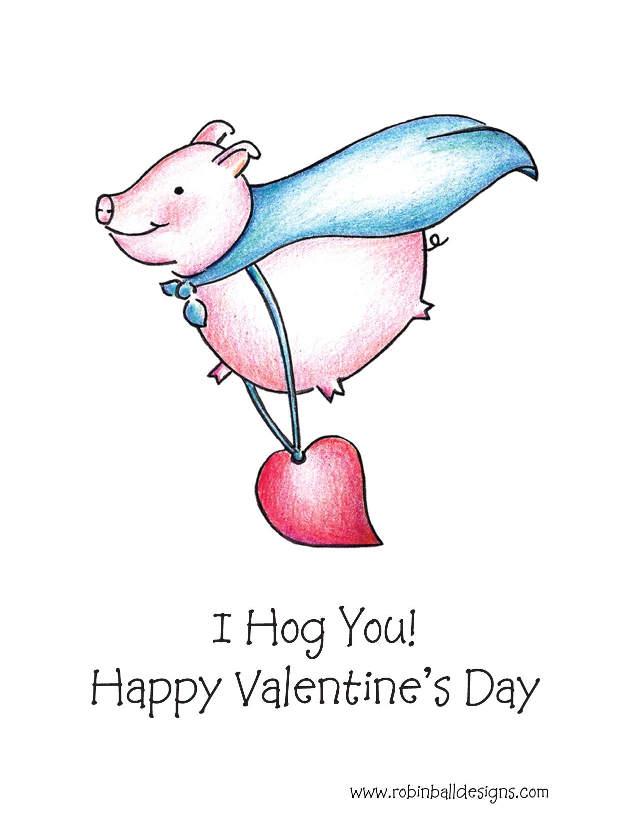 $3 00 Valentine Flying Pig Greeting Card This humorous handmade