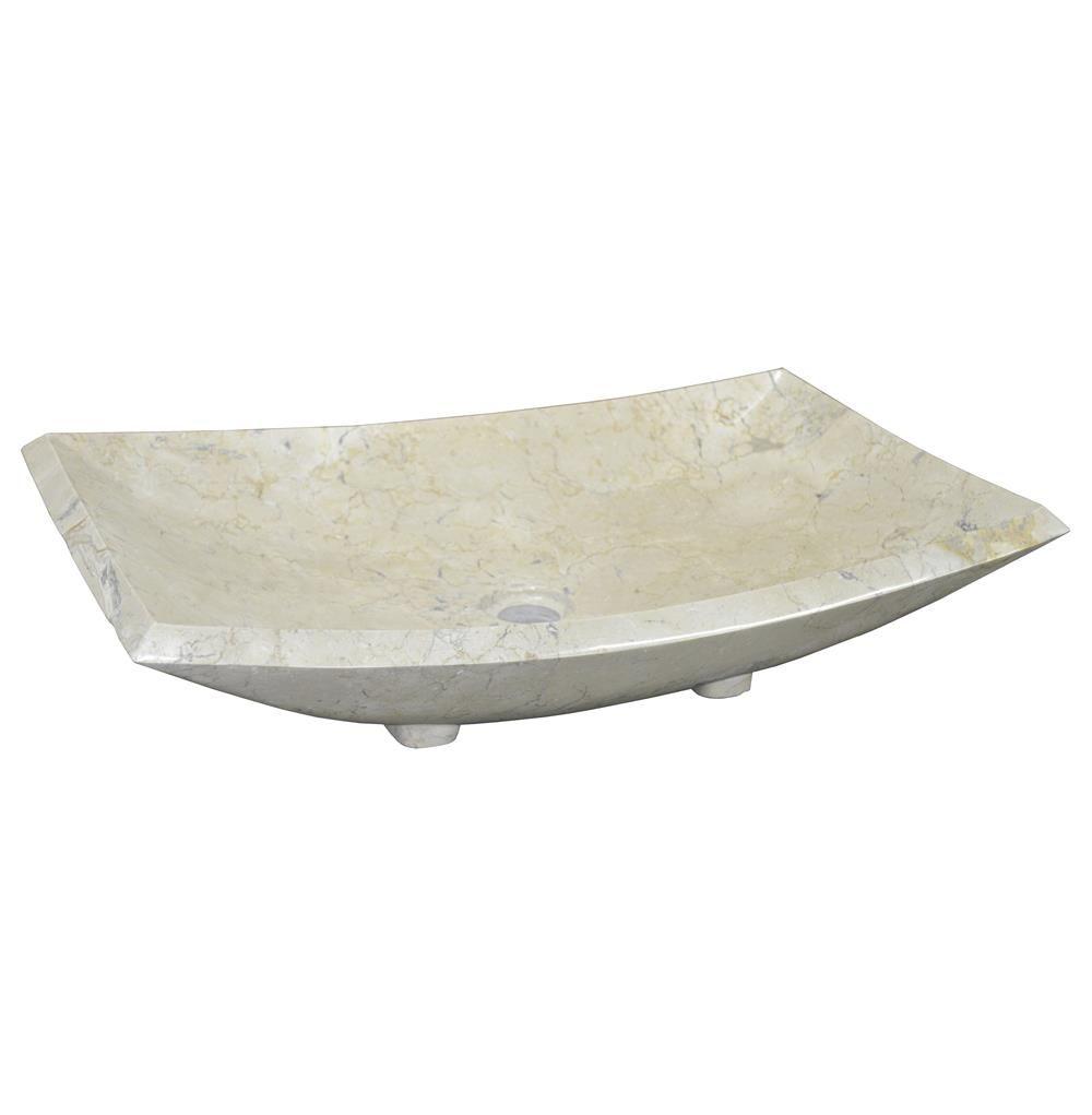 Abilene Modern Classic Rectangular Bowl White Marble Bath Sink
