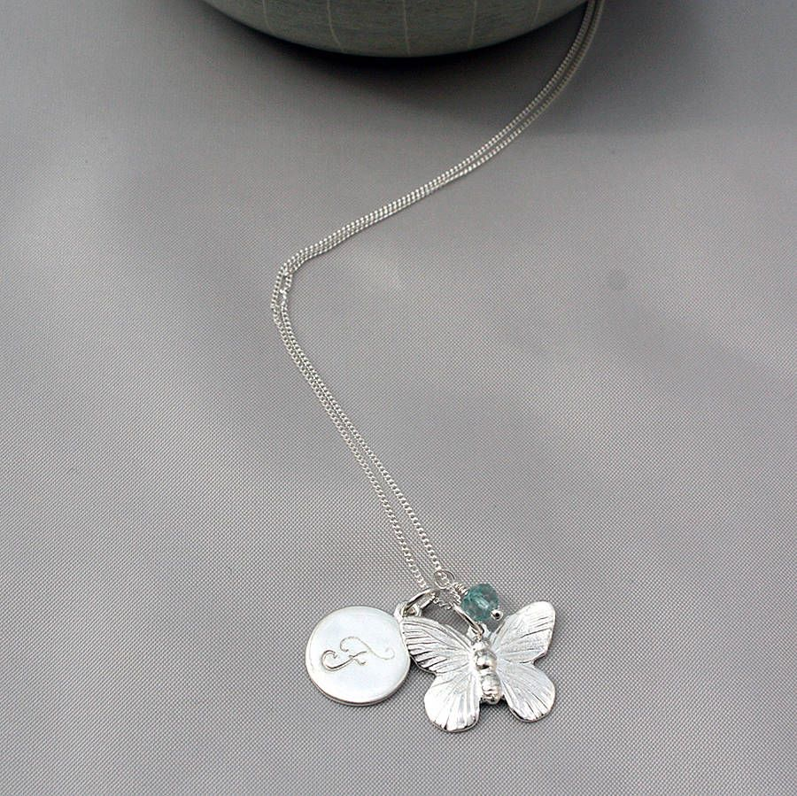 Personalised Butterfly Necklace with Blue Topaz