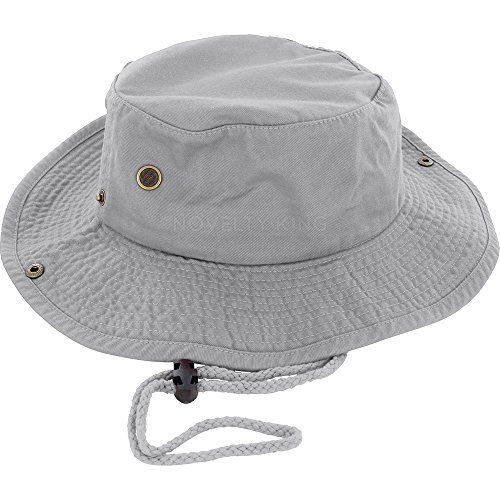 a9bf2084f83421 100% Cotton Boonie Fishing Bucket Men Safari Summer String Hat Cap (15+  Colors) Gray S/M DealStock