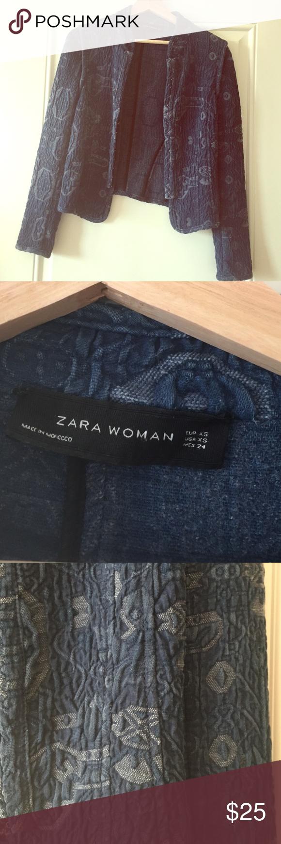 Zara denim blazer very cool asian or Aztec inspired jean blazer Zara Jackets & Coats Blazers