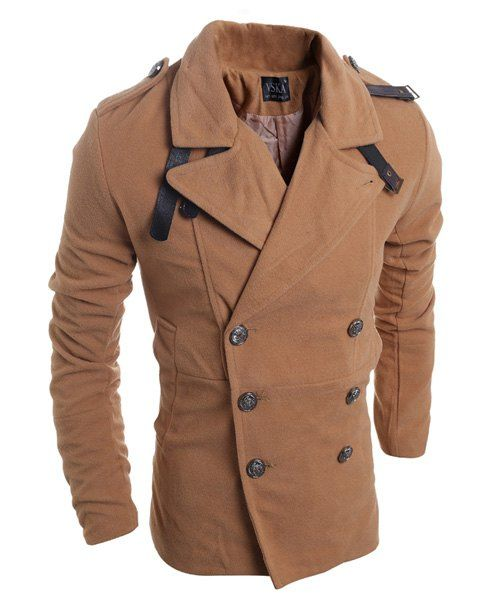 60bd2c98b12e Turn-Down Collar Double Breasted Long Sleeve Epaulet Design Woolen Jacket  For Men