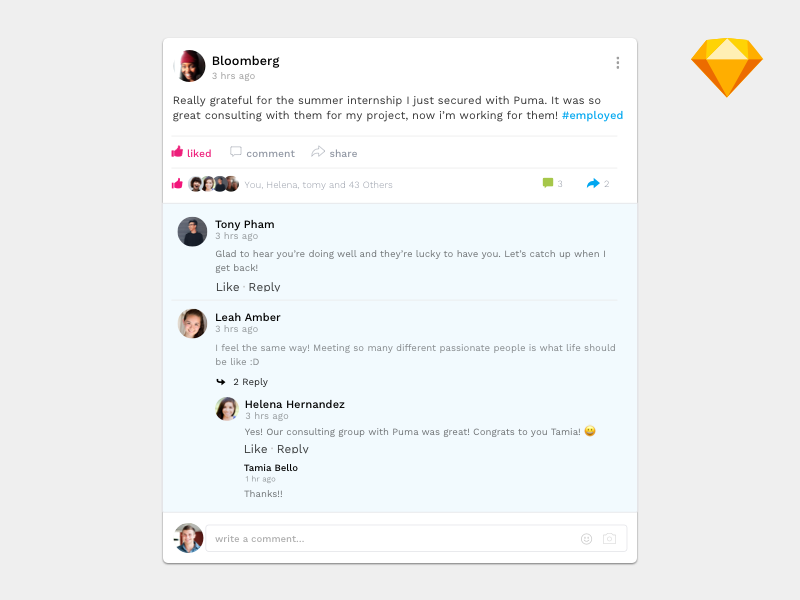Post With Comments Sketch App Web Design Post