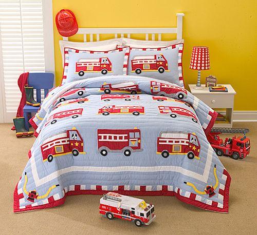 Fire Truck Bedding Full Queen Quilt Set Little Boys Vintage Fire