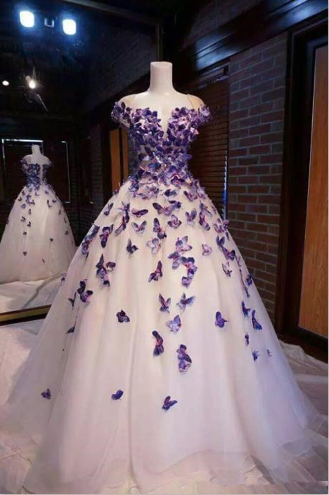 Purple Butterfly Appliques Ball Quinceanera Dress Birthday Party Sweet 16 Gown, 596
