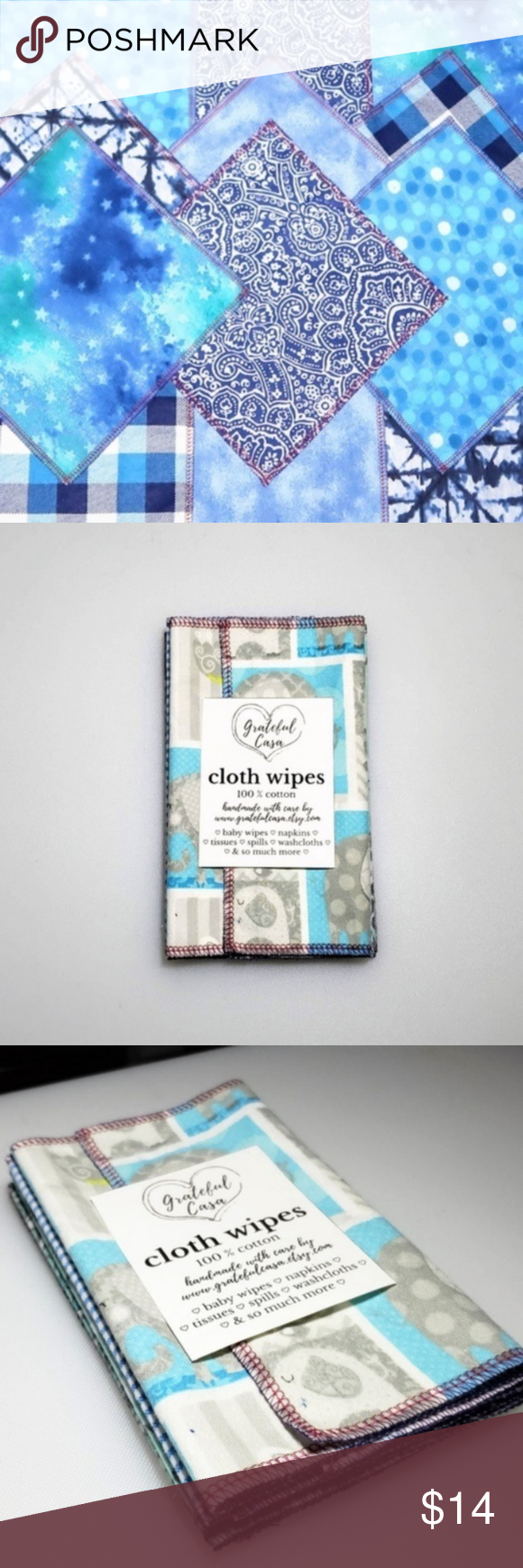 10 reusable CLOTH WIPES in summer blues 10 reusable CLOTH WIPES in summer blues  Each wipe is 1 ply and can be used as reusable baby wipes with water or a diaper solution, face wipes, napkin, washcloths, unpaper, toilet paper, etc.  Each wipe is approximately 7x7  100% cotton flannel ♡ flannel becomes more absorbent after the first few washes ♡  Edges are serged for durability and to prevent fraying.   Washing instructions: Machine wash warm with like colors, dry in dryer. Wipes are not pre-wa #papernapkins