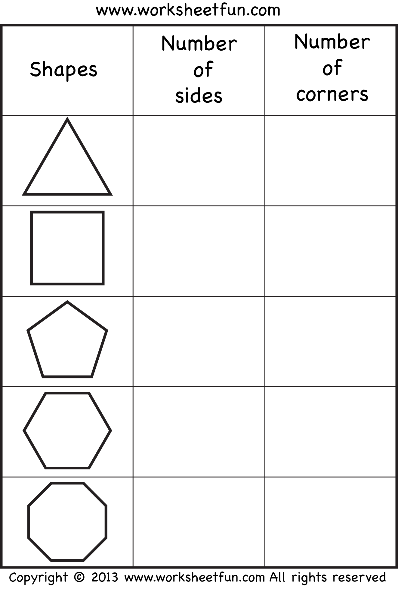 math worksheet : free count the number of sides and corners  shapes  pinterest  : Geometry Worksheets For Kindergarten