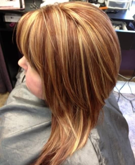 Copper Highlights Blonde hair color ideas for women