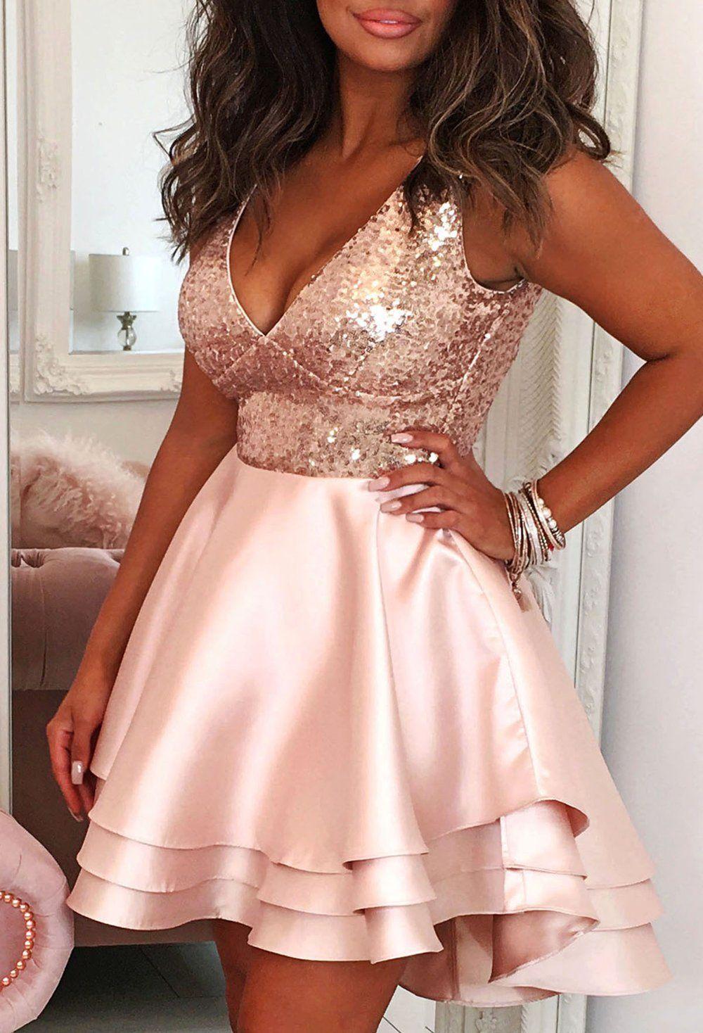 Heart Broken Rose Gold Sequin Multi Layer Skater Dress In 2021 Sweet 16 Dresses Short Gold Dress Short Sweet Sixteen Dresses [ 1468 x 1000 Pixel ]