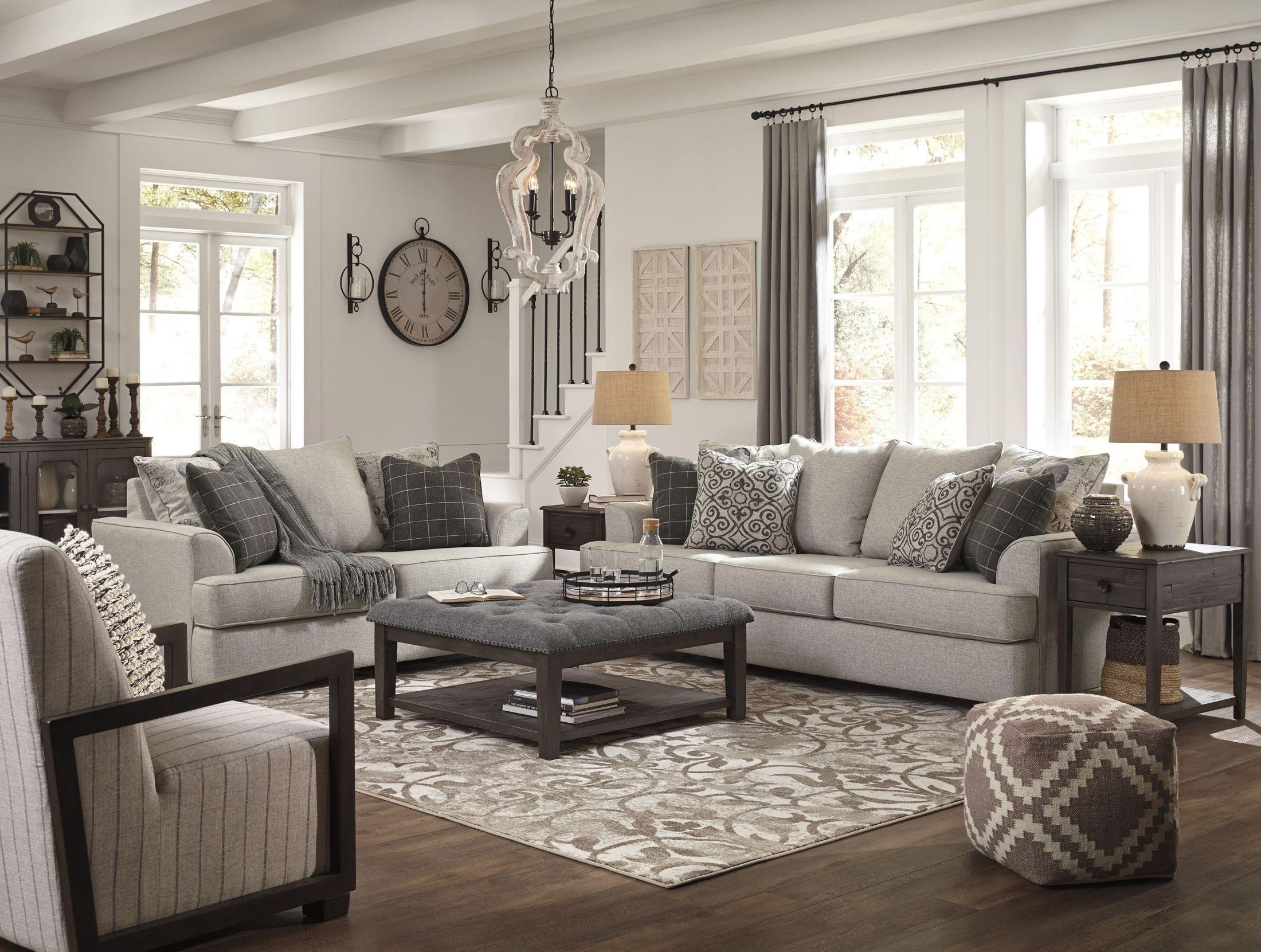 Velletri Pewter Living Room Set Living Room Grey Brown Living