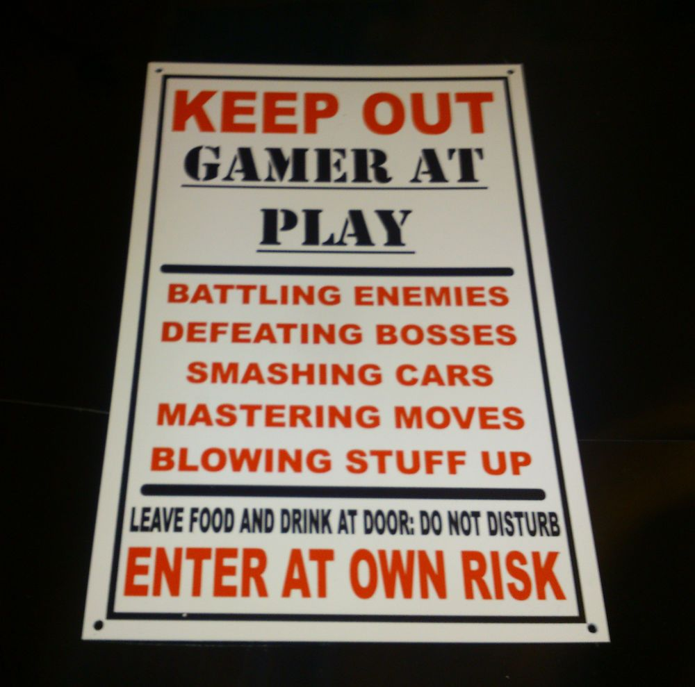 Funny Keep Out Gamer At Play Bedroom Door Plaque Xbox, Playstation Wall  Plaque