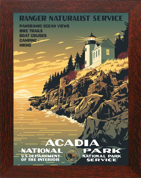 Acadia National Park Wpa Poster Framed Vintage National Park Posters National Park Posters Wpa National Park Posters