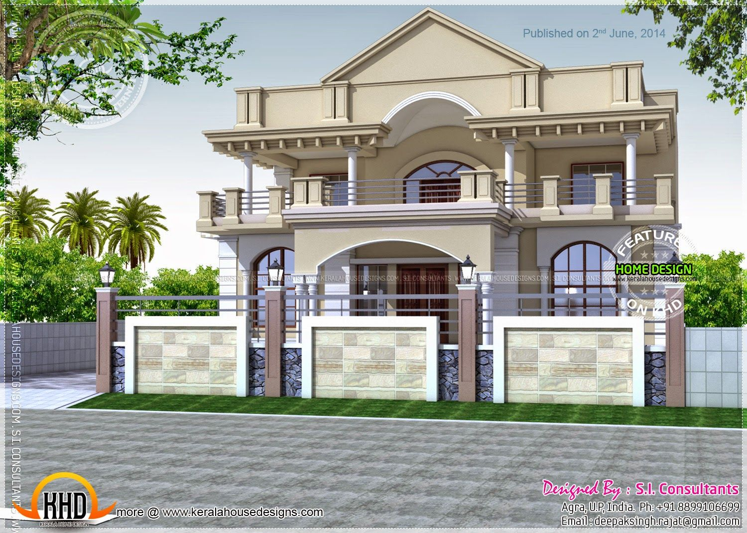 Exceptional Front Design Of House Construction In India Part - 8: North Indian Exterior House ~ Indian House Plans